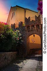 gyönyörű, város, öreg, olaszország, művészet
