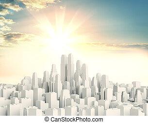 gyönyörű, város, ellen, belvárosi, fehér, napkelte