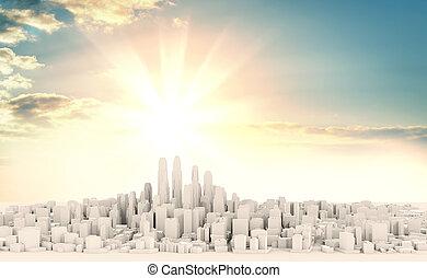 gyönyörű, város, modern, ellen, fehér, napkelte