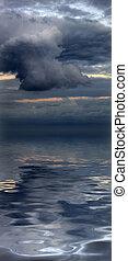 gyönyörű, víz visszaverődés, közül, előidéző, cloudscape