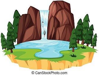 gyönyörű, vízesés, táj