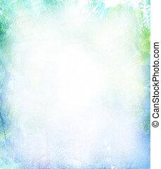 gyönyörű, vízfestmény, háttér, alatt, lágy, zöld, kék, és,...