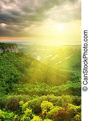 gyönyörű, völgy, napfény