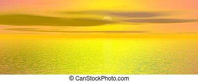 gyönyörű, -, vakolás, napnyugta, tenger, 3