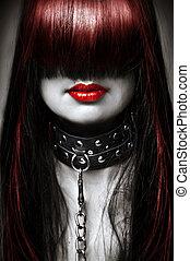 gyönyörű, varázslat, mód, hairstyle., lánc, megkorbácsol, csapok, fém, fiatal, hosszú szőr, nő, fekete, model., női, szexi, portré, fehér, hölgy, gallér, piros