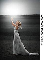 gyönyörű, varázslatos, fairy., leány, ruha, fehér
