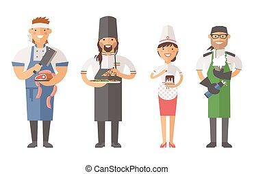 gyönyörű, vector., betű, young konyhafőnök, finom, díszít
