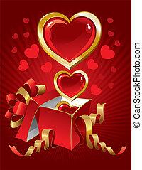 gyönyörű, vektor, Nap, háttér,  valentine's