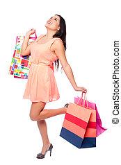 gyönyörű, vidám woman, noha, bevásárol táska