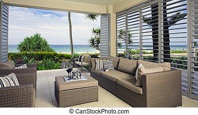 gyönyörű, waterfront, óceán, kíséret, nézet