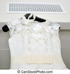 gyönyörű, white ruha, esküvő