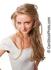 gyönyörű, white ruha, fiatal, női