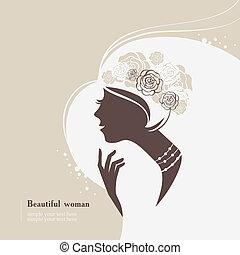 gyönyörű woman, árnykép