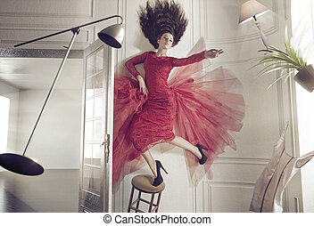 gyönyörű woman, és, a, felemelő, ruhanemű