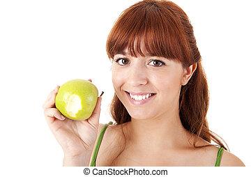 gyönyörű woman, étkezési, fiatal, alma