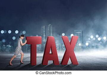 gyönyörű woman, ügy, szöveg, el, rámenős, adót kiszab, ázsiai