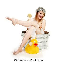 gyönyörű woman, alatt, fürdőkád
