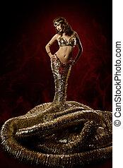 gyönyörű woman, alatt, képzelet, dress., kígyó, mód, ruha,...