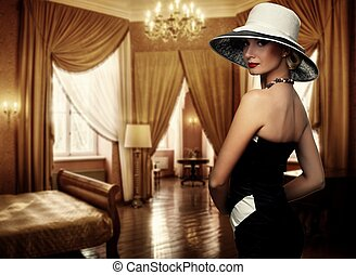 gyönyörű woman, alatt, kalap, alatt, fényűzés, room.
