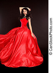 gyönyörű woman, alatt, piros ruha