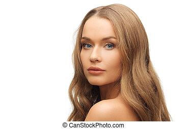 gyönyörű woman, arc, noha, hosszú, szőke szőr