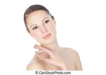 gyönyörű woman, arc, noha, kitakarít, bőr, felett, fehér