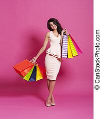 gyönyörű woman, bevásárlás, pazar