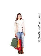gyönyörű woman, birtok, bevásárol táska