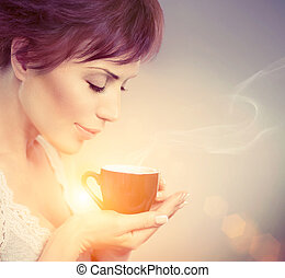 gyönyörű woman, coffee., csésze, csípős ital, leány, élvez