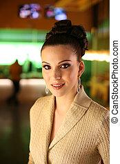 gyönyörű woman, dof, alacsony konvergál, fiatal, portré, eyes., indoors.