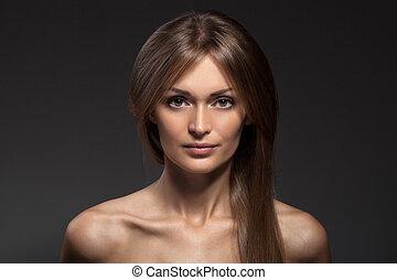 gyönyörű woman, egészséges, face., hosszú, mód, portrait., hair.