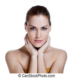 gyönyörű woman, egészséges, fiatal, bőr, portré