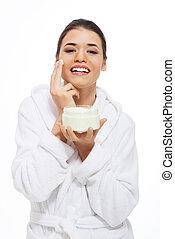 gyönyörű woman, fürdőköpeny, cream., arc
