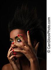 gyönyörű woman, fekete, sima, alkat