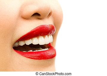 gyönyörű woman, felett, fiatal, elszigetelt, háttér, fehér, teeth.
