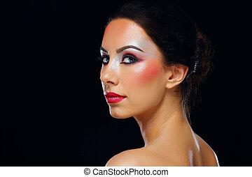 gyönyörű woman, fiatal, bőr, portré, törődik