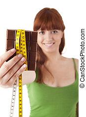 gyönyörű woman, fiatal, birtok, csokoládé