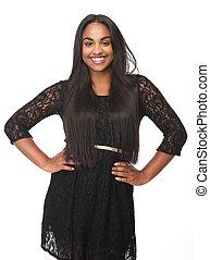 gyönyörű woman, fiatal, fekete, mosolygós, ruha