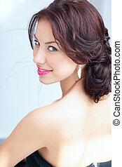 gyönyörű woman, fiatal, hát, látszó, closeup, portré, csábító