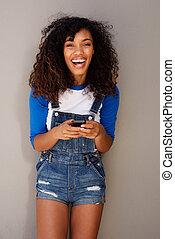 gyönyörű woman, fiatal, sejt telefon, nevető