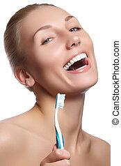 gyönyörű woman, fogászati, toothbrush., háttér, törődik
