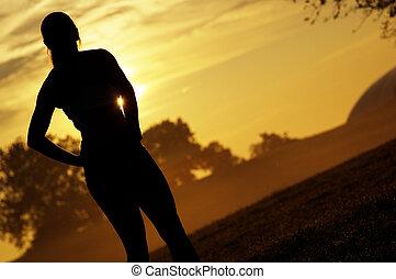 gyönyörű woman, futó