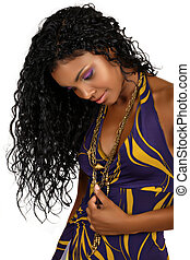 gyönyörű woman, göndör, hair., hosszú, afrikai