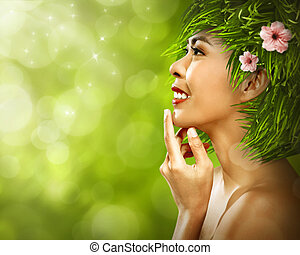 gyönyörű woman, haj, zöld, ázsiai, friss, fű