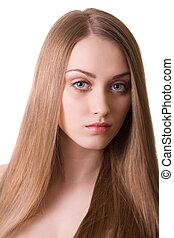 gyönyörű woman, hosszú szőr, háttér, portré, szőke, fehér
