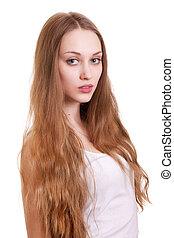gyönyörű woman, hosszú szőr, portré, szőke