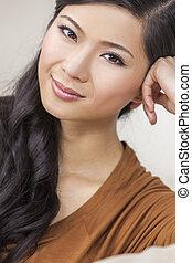gyönyörű woman, kínai, fiatal, ázsiai, portré