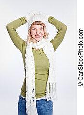 gyönyörű woman, kaukázusi, tél