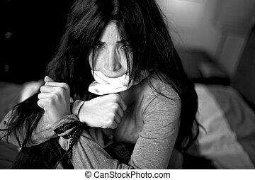 gyönyörű woman, kept, túsz, erőszak, belföldi