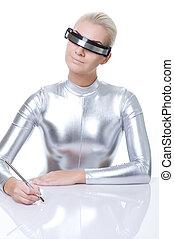 gyönyörű woman, kibernetikai